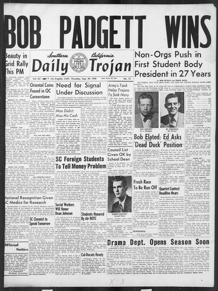 Daily Trojan, Vol. 41, No. 15, September 29, 1949