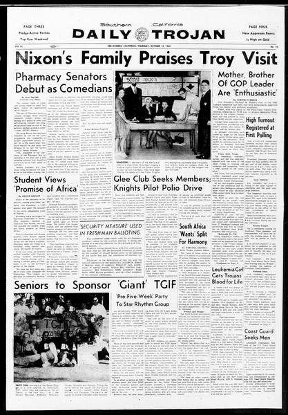 Daily Trojan, Vol. 52, No. 19, October 13, 1960