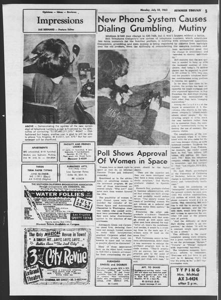 Summer Trojan, Vol. 12, No. 9, July 23, 1962