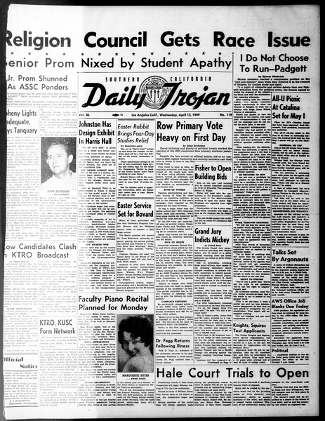 Daily Trojan, Vol. 40, No. 119, April 13, 1949
