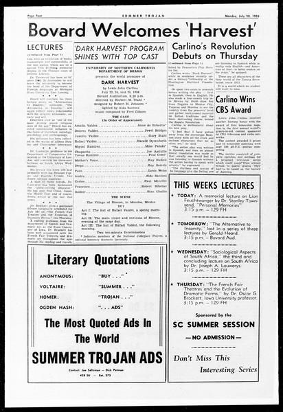 Summer Trojan, Vol. 9, No. 9, July 20, 1959