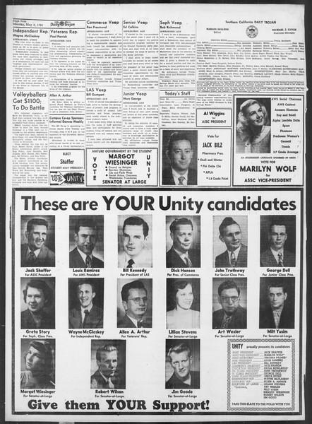Daily Trojan, Vol. 41, No. 131, May 08, 1950