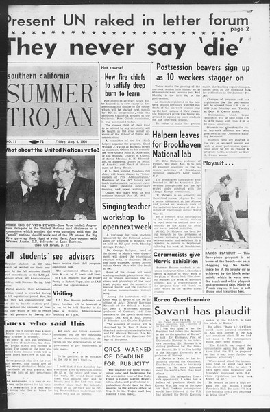 Summer Trojan, Vol. 5, No. 11, August 04, 1950