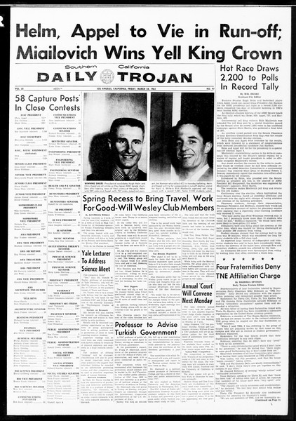 Daily Trojan, Vol. 52, No. 97, March 24, 1961