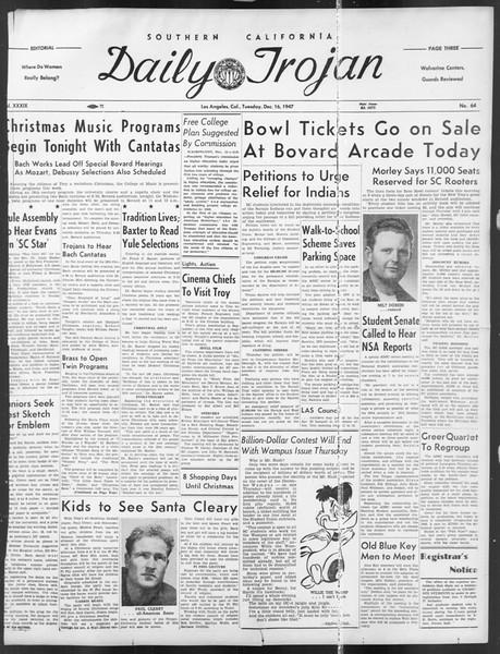 Daily Trojan, Vol. 39, No. 64, December 16, 1947