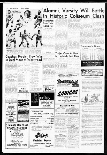 Daily Trojan, Vol. 52, No. 120, May 05, 1961
