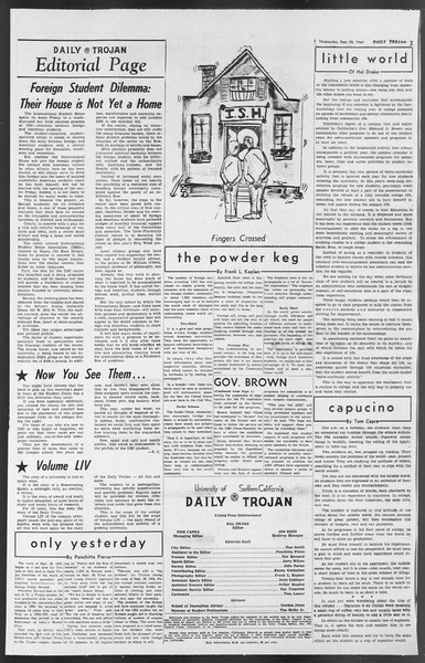 Daily Trojan, Vol. 54, No. 3, September 26, 1962