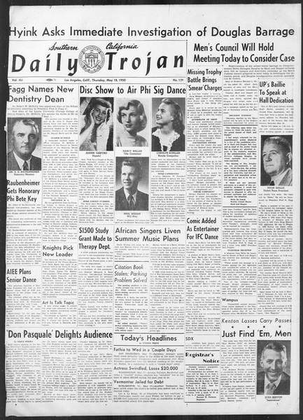 Daily Trojan, Vol. 41, No. 139, May 18, 1950