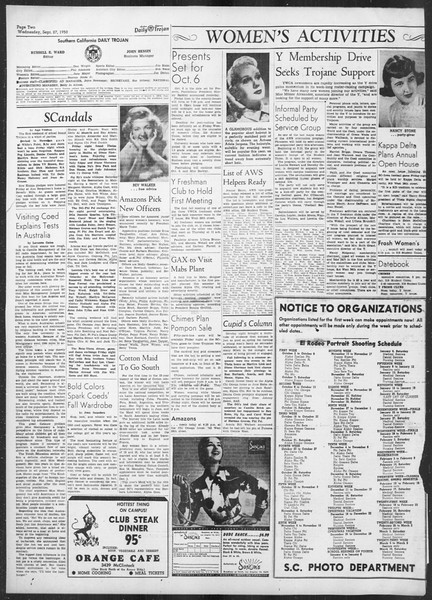 Daily Trojan, Vol. 42, No. 8, September 27, 1950