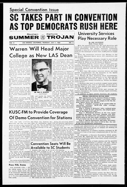 Summer Trojan, Vol. 10, No. 5, July 07, 1960
