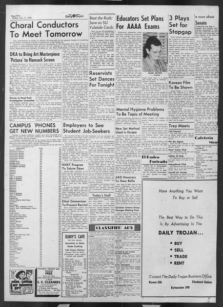 Daily Trojan, Vol. 43, No. 68, January 11, 1952