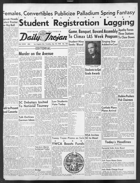 Daily Trojan, Vol. 39, No. 124, April 22, 1948