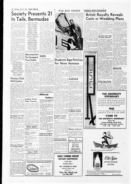 Daily Trojan, Vol. 51, No. 111, April 27, 1960