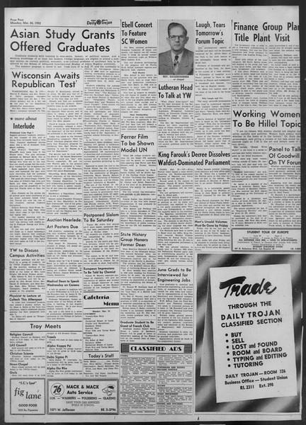 Daily Trojan, Vol. 43, No. 102, March 24, 1952