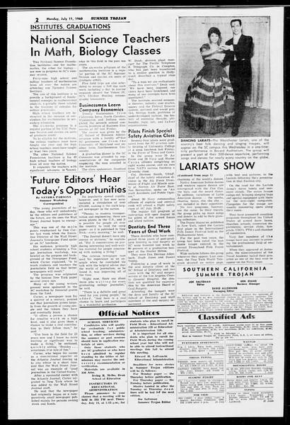 Summer Trojan, Vol. 10, No. 6, July 11, 1960