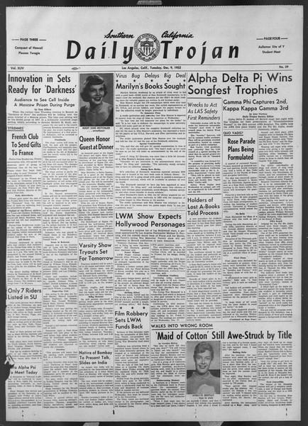 Daily Trojan, Vol. 44, No. 59, December 09, 1952