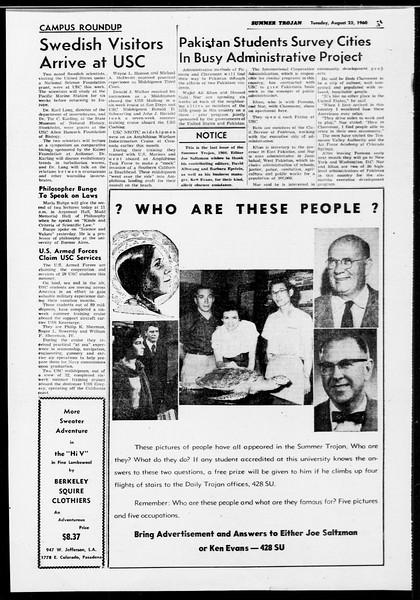 Summer Trojan, Vol. 10, No. 15, August 23, 1960