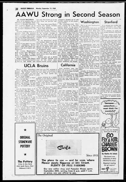 Daily Trojan, Vol. 52, No. 1, September 12, 1960