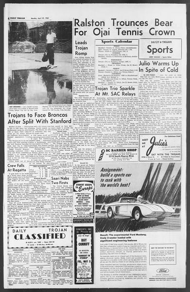 Daily Trojan, Vol. 54, No. 107, April 29, 1963