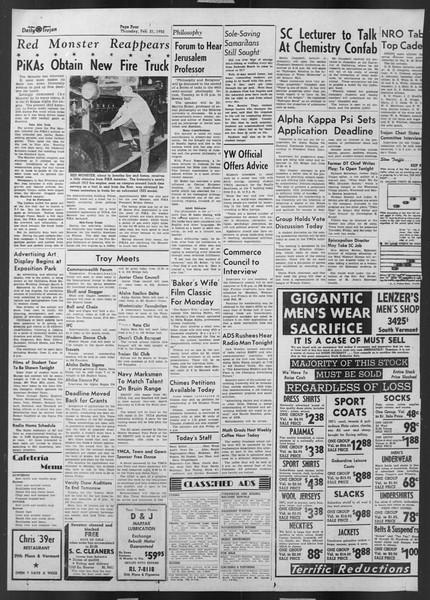 Daily Trojan, Vol. 43, No. 80, February 21, 1952