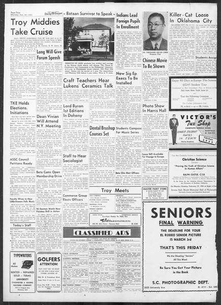 Daily Trojan, Vol. 41, No. 83, February 27, 1950