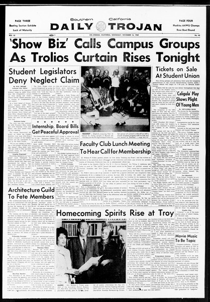 Daily Trojan, Vol. 52, No. 43, November 16, 1960