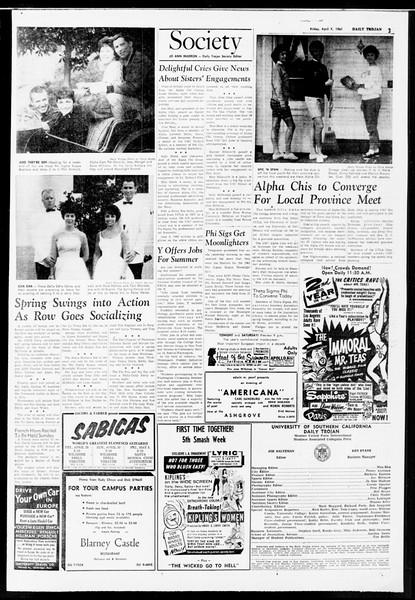 Daily Trojan, Vol. 52, No. 101, April 07, 1961