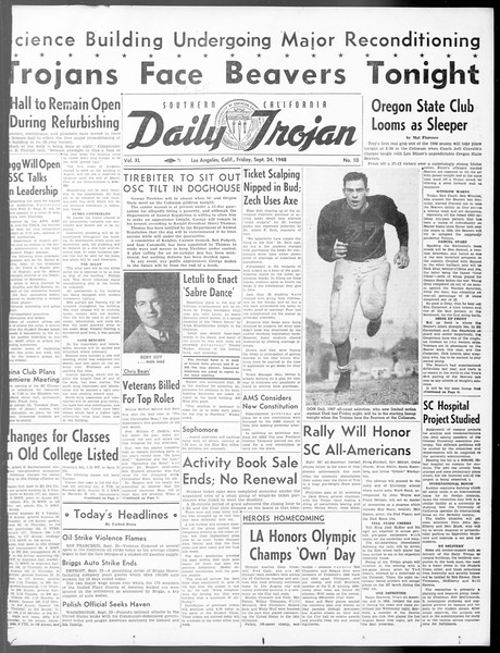 Daily Trojan, Vol. 40, No. 10, September 24, 1948