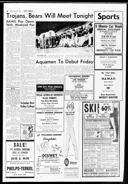 Daily Trojan, Vol. 52, No. 64, January 06, 1961