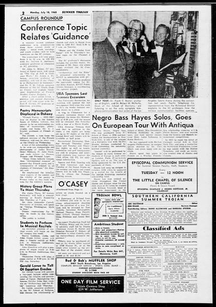 Summer Trojan, Vol. 10, No. 8, July 18, 1960
