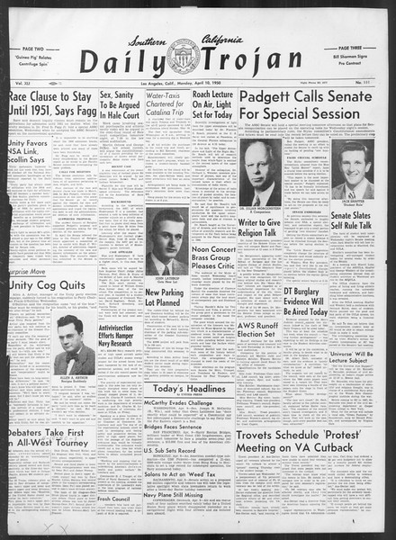 Daily Trojan, Vol. 41, No. 111, April 10, 1950