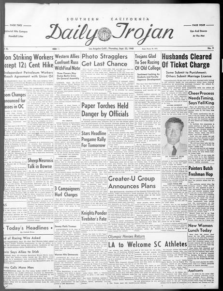 Daily Trojan, Vol. 40, No. 9, September 23, 1948