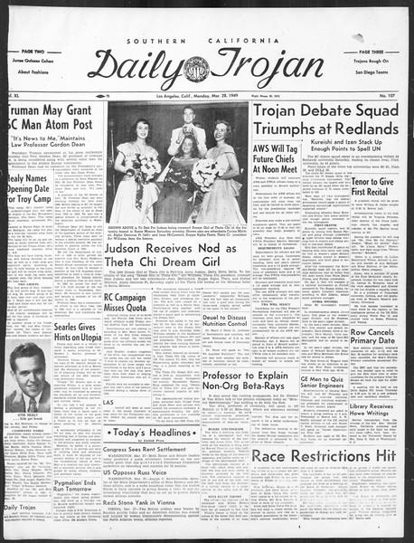 Daily Trojan, Vol. 40, No. 107, March 28, 1949