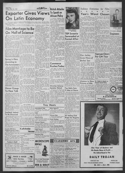 Daily Trojan, Vol. 43, No. 101, March 21, 1952