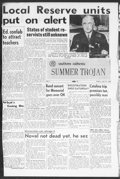 Summer Trojan, Vol. 5, No. 7, July 21, 1950