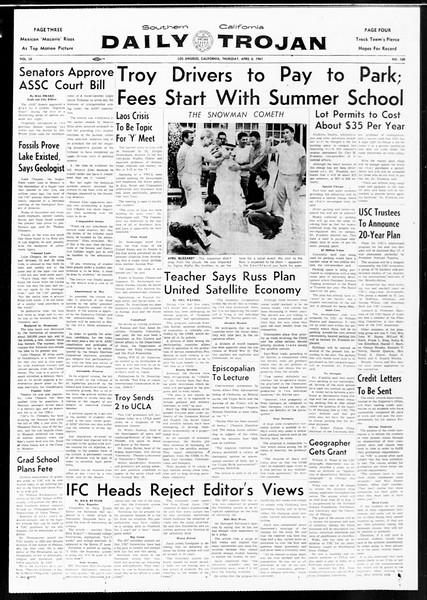 Daily Trojan, Vol. 52, No. 100, April 06, 1961