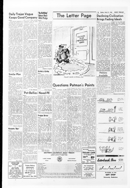 Daily Trojan, Vol. 51, No. 89, March 21, 1960