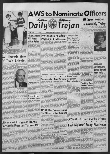 Daily Trojan, Vol. 43, No. 102, March 24, 1952
