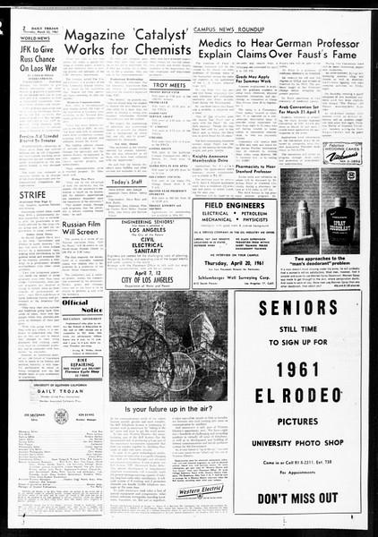 Daily Trojan, Vol. 52, No. 96, March 23, 1961