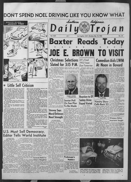Daily Trojan, Vol. 44, No. 63, December 15, 1952