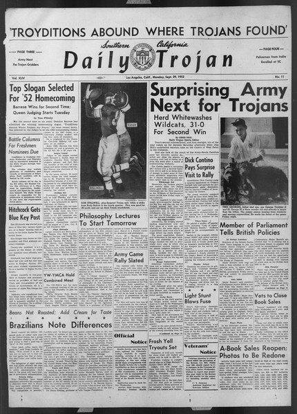 Daily Trojan, Vol. 44, No. 11, September 29, 1952