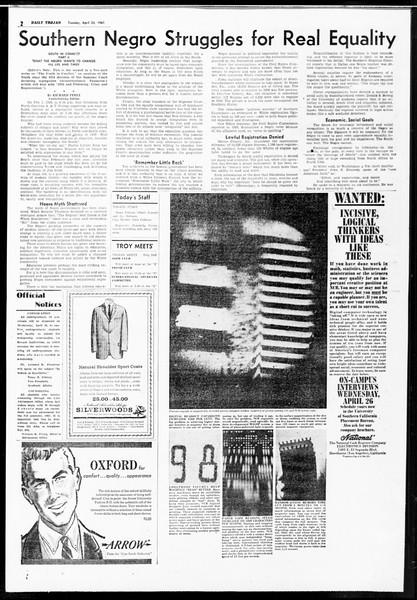 Daily Trojan, Vol. 52, No. 112, April 25, 1961