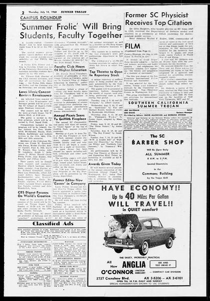 Summer Trojan, Vol. 10, No. 7, July 14, 1960