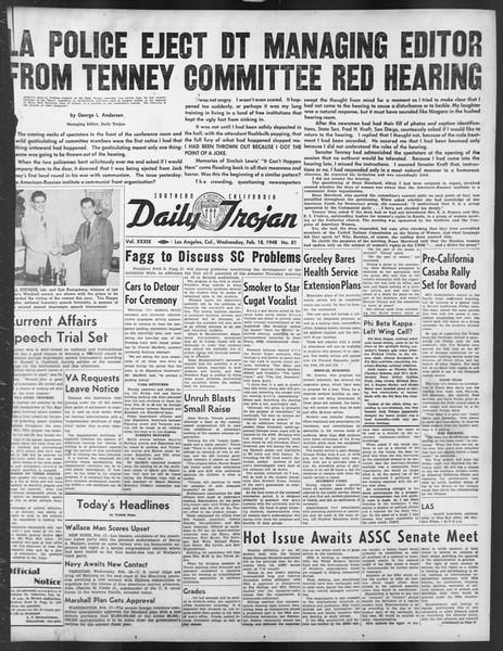 Daily Trojan, Vol. 39, No. 81, February 18, 1948