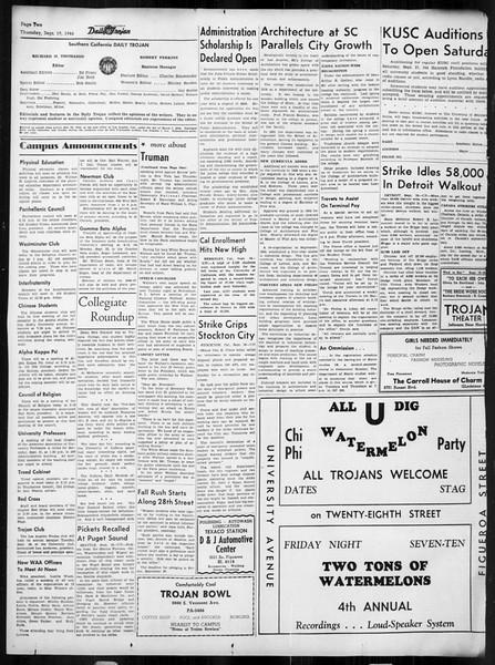 Daily Trojan, Vol. 38, No. 4, September 19, 1946