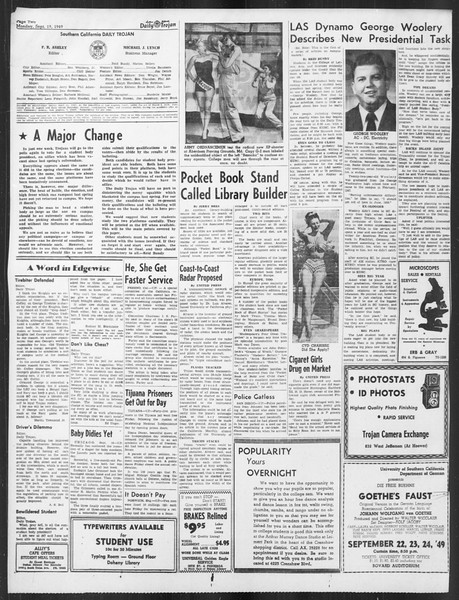 Daily Trojan, Vol. 41, No. 7, September 19, 1949