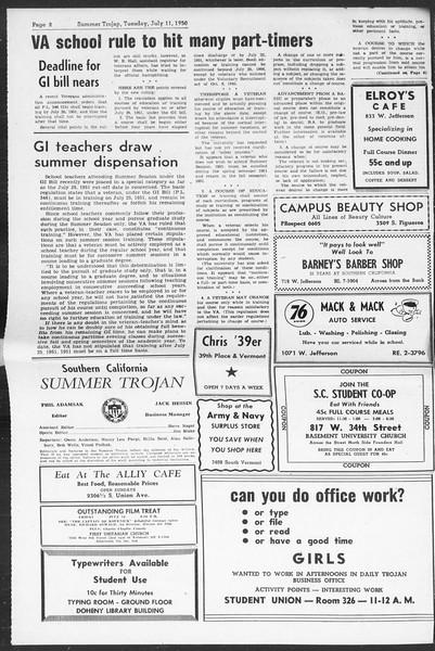 Summer Trojan, Vol. 5, No. 4, July 11, 1950