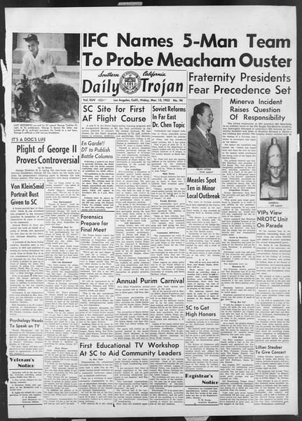 Daily Trojan, Vol. 44, No. 94, March 13, 1953