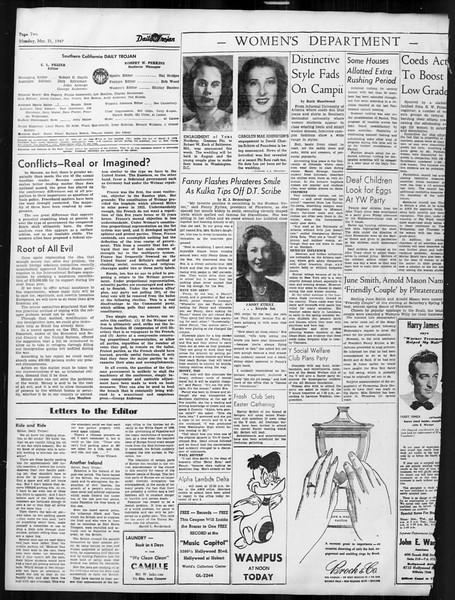 Daily Trojan, Vol. 38, No. 106, March 31, 1947
