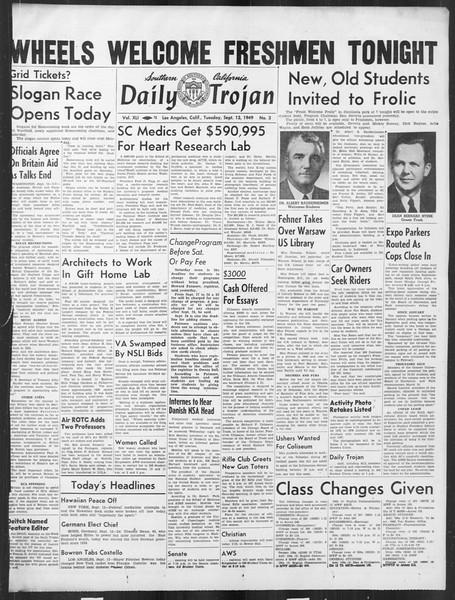 Daily Trojan, Vol. 41, No. 3, September 13, 1949